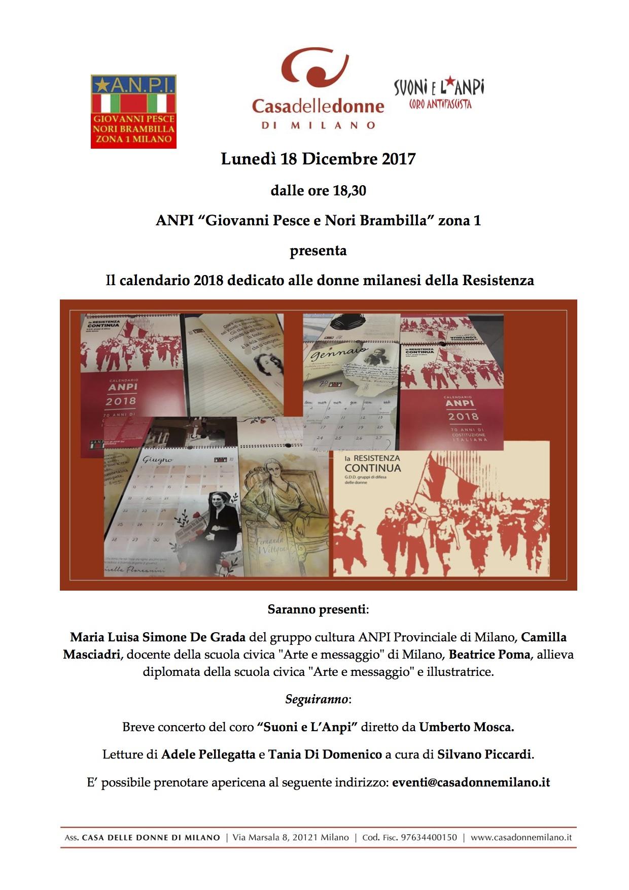 Calendario Milano.Lunedi 18 Anpi Zona 1 Milano Con Il Calendario La Polenta